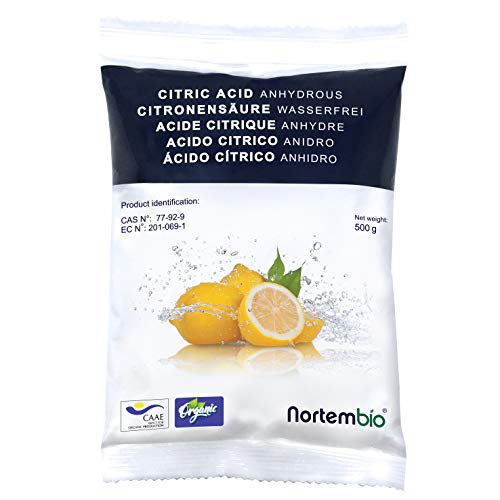 Nortembio Acide Citrique 500g. Poudre Anhydre, 100% Pure. pour la Production Biologique. Développé en Francia.