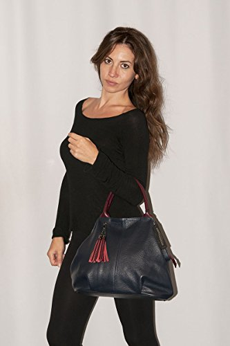 BORDERLINE - 100% Made in Italy - Borsa da Donna in Vera Pelle - GIADA Verde/Bordeaux