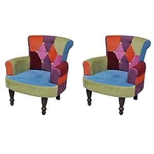 Lot de 2 fauteuil de style France avec accoudoirs design patchwork multi couleur