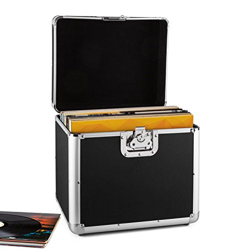 resident dj Zeitkapsel • Plattenkoffer • Aluminium-Koffer • Vinyl-Case • Schallplattenkoffer • für 70 LP • Klappdeckel • Aluminium-Profile • Schutzkanten • Schutzecken • Metallscharniere • schwarz