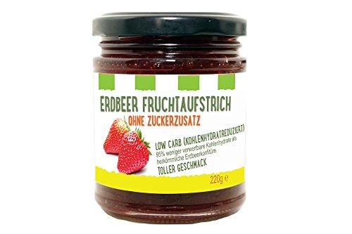 Erdbeer Fruchtaufstrich low carb (kohlenhydratreduziert - 95% weniger verwertbare Kohlenhydrate als herkömmliche Erdbeerkonfitüre) / 1 x 220g (1-er Pack) / von Zimmermann Sportnahrung
