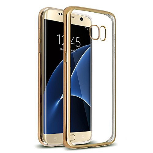 Preisvergleich Produktbild Samsung Galaxy S7 edge Hülle , Ubegood Kratzfeste Plating TPU Case für Samsung Galaxy S7 edge Case Schutzhülle Silikon Crystal Case Durchsichtig für Samsung Galaxy S7 edge (Goldene)