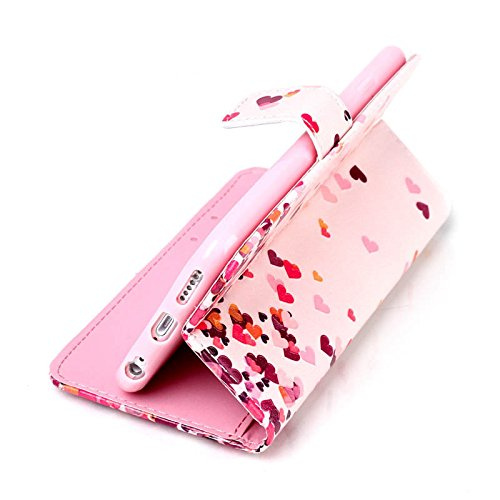 iPhone 6S Hülle, iPhone 6 Hülle, ISAKEN iPhone 6S 6 Hülle Muster, Handy Case Cover Tasche for iPhone 6S / 6, Bunte Retro Muster Druck Flip Cover PU Leder Tasche Case Schutzhülle Hülle Handy Tasche Etu Bunte Rosa Liebes Herz