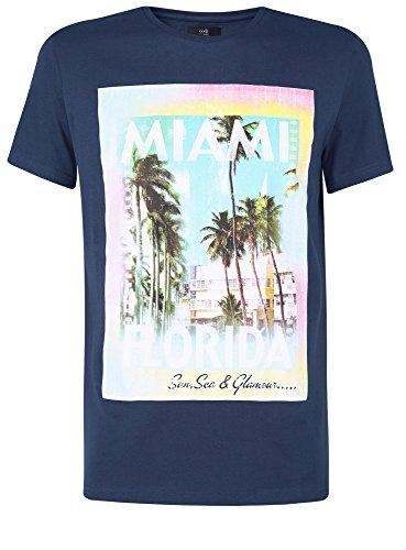 Preisvergleich Produktbild oodji Ultra Herren T-Shirt mit Sommerdruck, Blau, DE 50 / M