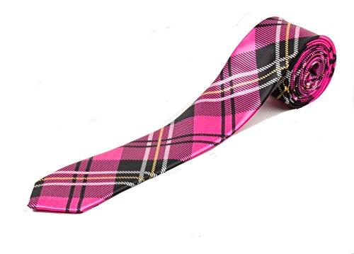 Style rétro pour homme Tartan Skinny Cravate - Rose