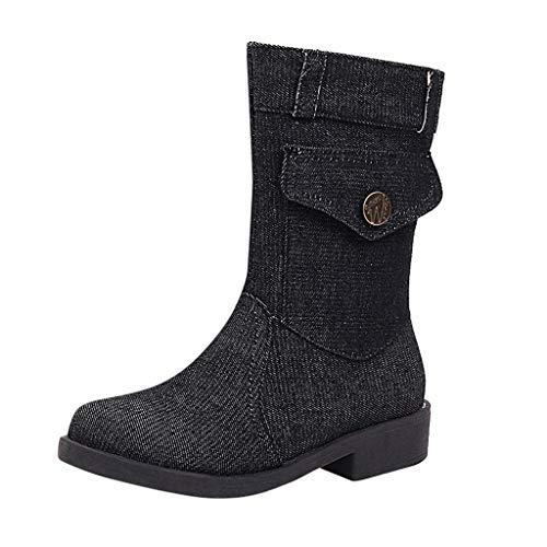 COZOCO Damen Einfarbige Denim Stiefel Flache Sohle Platz Ferse Mittellänge Stiefel Runde Zehen Reißverschluss Freizeit Stiefel(Dunkelgrau,41 EU)