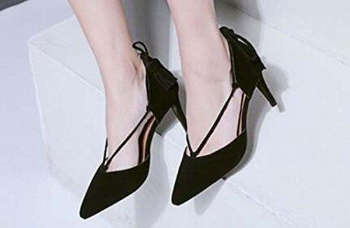 Beauqueen Pompe scarpe casual Summer Party delle donne delle ragazze slingback tacco basso nappe semplici comfortbale Scarpe Eleganti formato standard dell'Europa 34-39 Black
