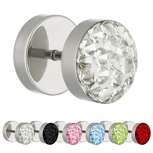 Treuheld Piercing Fake Plug - Silber - Schutzschicht - Kristall [3.] - pink