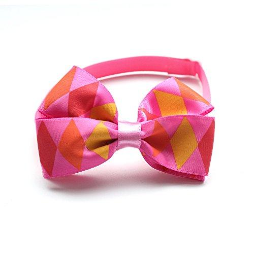 60PCS Pink Dog Collars Plaid Handcrafed pajarita ajustable desmontable para pequeño perro...