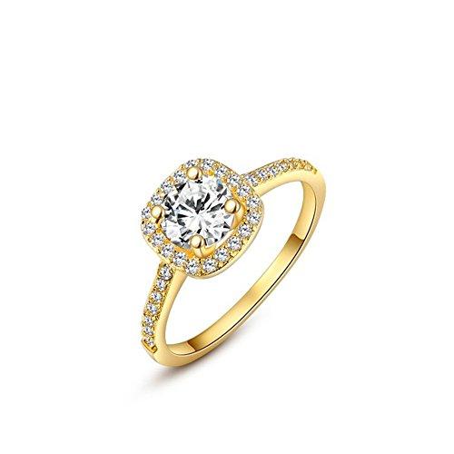 Bling Jewelry Donna Platino/Oro rosa placcato in oro/giallo taglio brillante anello di fidanzamento, placcato oro, 11,5, cod. 1010035240