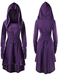 Umhang Lace Lange unregelmäßigen Saum Pullover Up Kostüme Vintage Mantel MCYs Hooded Damen Bandage Kleid BrCodxeW