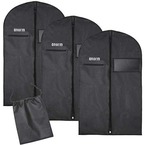 anorm Premium Kleidersack | 3 Stück Kleidertasche + Schuhbeutel | Aufbewahrung | hochwertige Kleiderhülle für Anzug, Uniform und Kleid | Wasserdichte Atmungsaktive Kleidertasche für Reisen | 100x60cm (Mit Anzug Fenster Tasche)