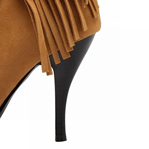 Mee Shoes Damen high heels mit Quaste Reißverschluss Stiefel Gelb