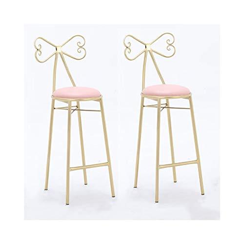 LYJBarhocker Restauranthocker mit Schwammauflage aus weißem Rosa für Bar-Theke (Farbe : Pink×2) (Rosa Antiker Stuhl)