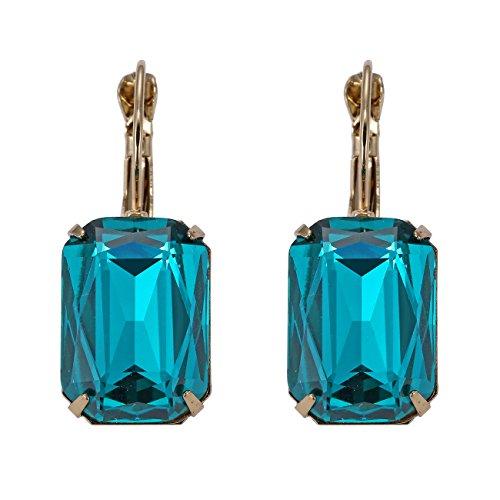 eManco Hebel Zurück Türkis-Grün Kristall Ohrringe Ohrhänger für Damen Frauen Edelstein Mode (Grün Gold Und Modeschmuck)