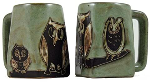 Set Of Two (2) MARA STONEWARE COLLECTION - 12 Oz Coffee Cup Collectible Square Mugs - Abstract Owl Bird