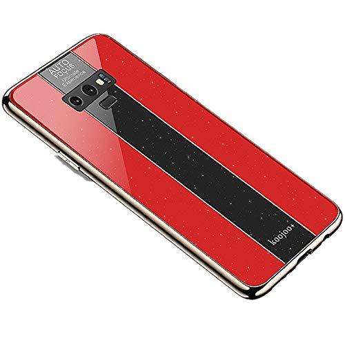 Miagon Überzug Hülle für Galaxy Note 9,Glänzend Glitzer Überzug Plating Rahmen Ultra Dünn Hart PC Handyhülle Schutzhülle Tasche Weich Case Bumper für Samsung Galaxy Note 9,Rot