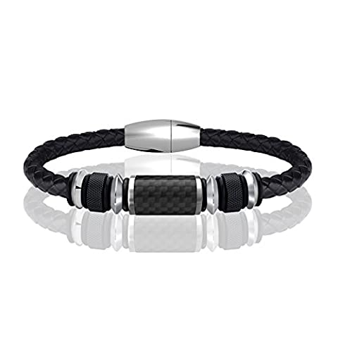 COOLMAN Leather Bracelet for Men Stainless Steel Braided Cuff Bracelet with Carbon Fiber Bead Magnetic Clasp 8.5 inch (Black)