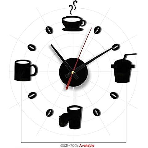 Toraway Acrílico de la manera DIY auto-adhesivo interior de pared creativo taza de la decoración del reloj del patrón