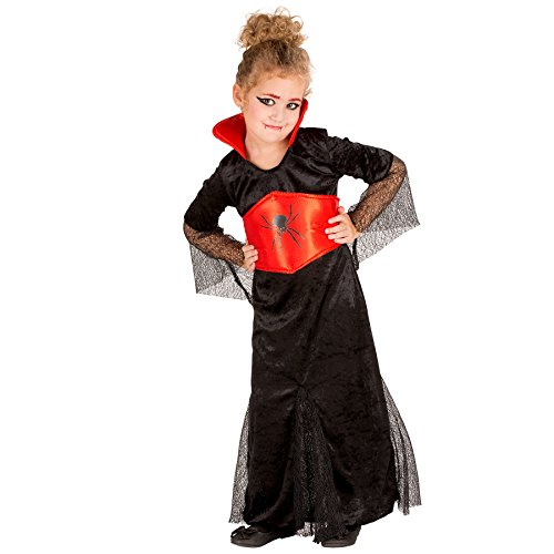 TecTake dressforfun Süßes Kinder Vampir Kostüm Gräfin Dracula Kleid mit Stehkragen und Satin-Gürtel (12-14 Jahre | Nr. 300053)