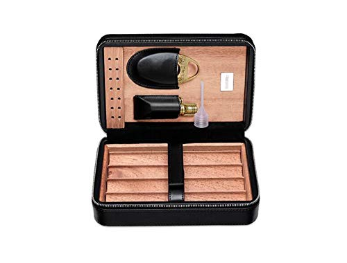 Portable Travel Cigar Case Zigarrenschachtel aus Leder aus spanischem Zedernholz Portable Cigar Humidor, Zigarre Cutter Feuerzeug 4 Zigarren - Und Feuerzeug Zigarren-cutter