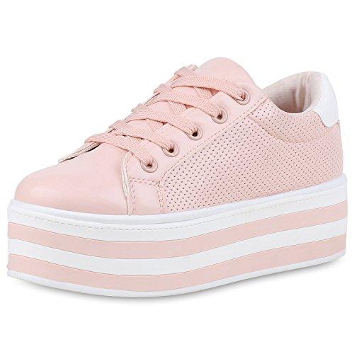 SCARPE VITA Damen Plateau Sneaker Basic Leder-Optik Schuhe Schnürer Turnschuhe 160976 Rosa Weiss 39