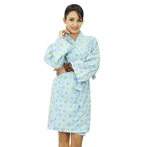 Coton demoiselle Wrap court bleu imprimé Crossover Robes Spa Wrap Bleu clair