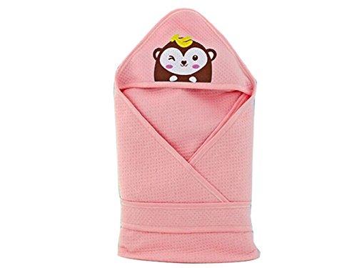 Salamii Weiches Handtuch Baby Kind Cartoon Wrap Decke mit Kapuze Badetuch Neugeborenen Decken Schlafsack-Größe ca. 80x80cm (Pink) Baby-Handtuch
