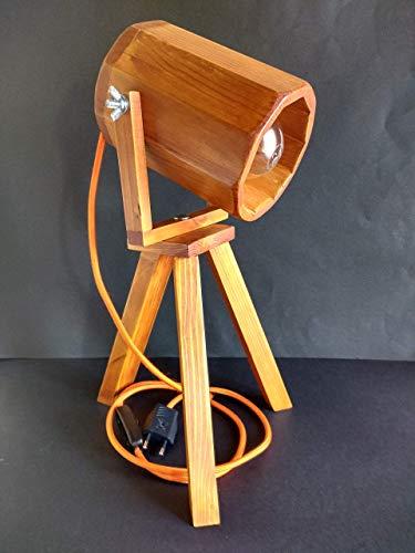 Lámpara foco de cine Vintage, con Trípode de madera reciclada de palet hecha a mano.