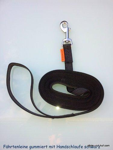 Artikelbild: Gummierte Hundeleine Fährtenleine Schleppleine 10m mit Handschlaufe schwarz