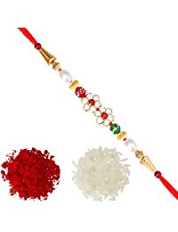 Aheli AD Flower Red Green Beads & Pearl Rakhi with Roli Chawal Tilak for Men Boys (Golden) (R17450D)