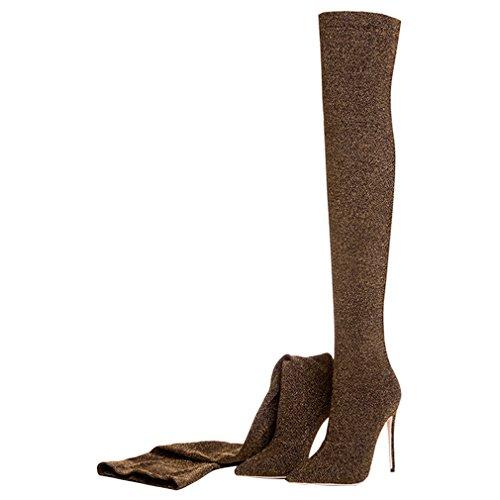 ENMAYER Donne sexy tacchi alti stivali sopra al ginocchio scivolare su il vestito della festa le scarpe Marrone
