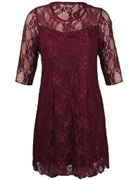 Damen plus size Blütenspitze Detail knielang Ausgehen Party-Kleid