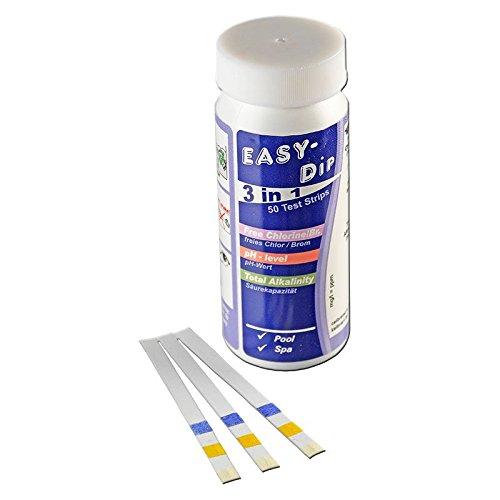 50 Teststreifen 3 in 1 für Chlor, pH + Alkalinität von well2wellness®