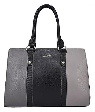 David Jones - Women top-handle bag - Python details and imitation leather - Lady handbag - Dark