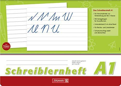 Schreiblernheft A1, A4 quer, 16 Blatt - Brunnen - 10-44 001 - Lineatur A1 / Nr. A1 - ohne Rand, Untergrund weiß