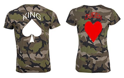 TRVPPY Partner Herren + Damen Camouflage T-Shirts Pik & Herz, Herren S, Damen L (Camo Herz Frauen T-shirt)