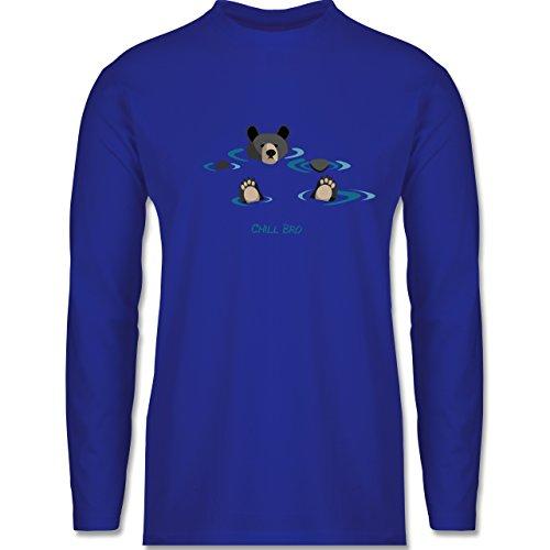 Typisch Männer - lustiges Bärenmotiv Chill Bro - Longsleeve / langärmeliges T-Shirt für Herren Royalblau