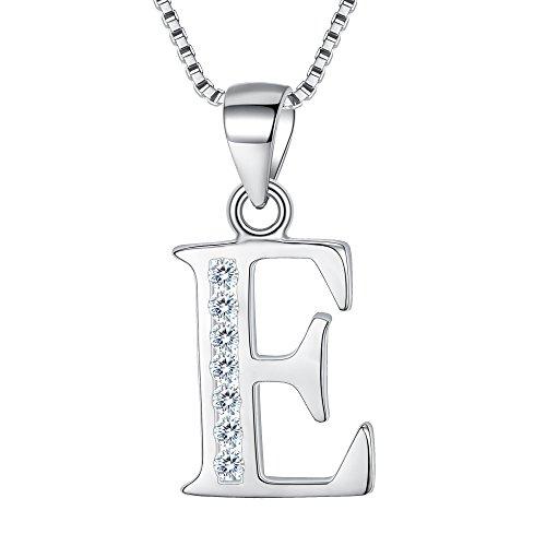 Clearine Halskette Damen 925 Sterling Silber CZ 26 Buchstabe Alphabet Personalisiert A biz Z Anhänger Hals-Schmuck