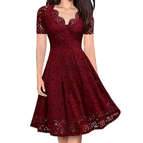 Dicomi Damen Partykleid V-Ausschnitt Schulterfrei Spitze Abendkleid Kurzarm Kleid