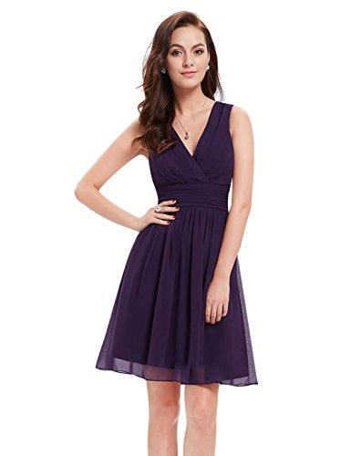 V-Ausschnitt Rueschen an Taille Elfenbein Kurz Damen Party Kleid 36 Dunkelviolett EP03989DP04 (Rüschen Auf Kleider)