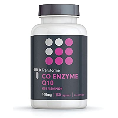 Co-Enzyme Q10 100mg | 180 Capsules | Pure Grade & Natural Source of CoQ10 | Fast Release High Absorption | Suspended in sunflower oil for more efficient absorption | Transforme by Transforme