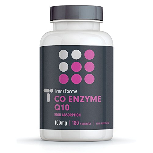 Co-Enzyme Q10 100mg | 180 Capsules | Pure Grade & Natural Source of CoQ10 | Fast Release High Absorption | Suspended in sunflower oil for more efficient absorption | Transforme Test