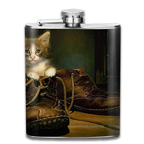 Gxdchfj Edelstahl Flachmann 7 Unzen (kein Trichter) Katze in Stiefeln voll Bedruckt