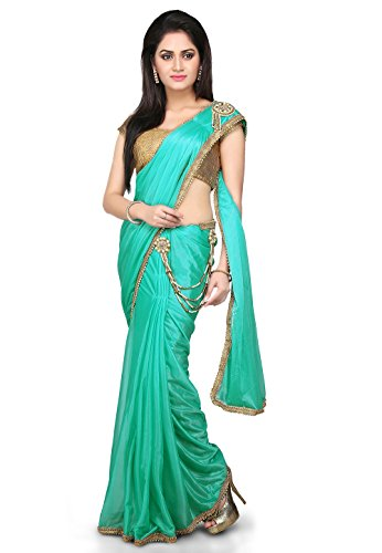 Aarti Saree Pre-Stitched Saree Lycra Saree in Sea Green With Un-Stitched Running...