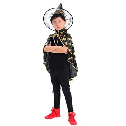 Halloween Erwachsene Kinder Baby Cape Vampir Kostüm Halloween Erwachsener Unisex Kostüm Zauberer Hexe Umhang Kap Robe + Hut Set Kleidung (Gold) - Kind Cape
