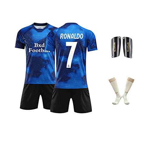 FNBA Cristiano Ronaldo # 7 Fußball Trikot und Shorts Real Madrid Club de Fútbol Jugend Kinder Heim/Auswärts ✓ Premium Geschenkset ✓ Inklusive Fußball Knieschützer und Socken-blue-140cm -