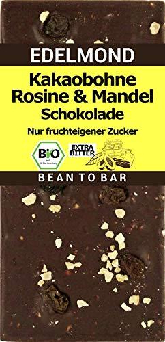 Edelmond Bio 100% Schokolade mit Rosinen und Mandeln, ohne Zucker oder Süßstoff. 3 Zutaten. Extrem Bitter ggf. nicht kaufen (1 Tafel)