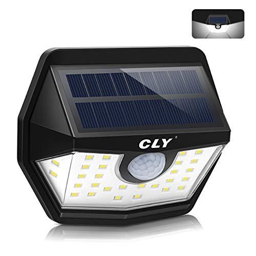 Luce Solare LED Esterno, CLY Lampada Solare con Sensore di Movimento, Super Luminosa Bianco Freddo 6000K 450Lumens, Luci Solari da Parete IP66 Impermeabile Solare per Giardino, Patio (1-Pezzi)