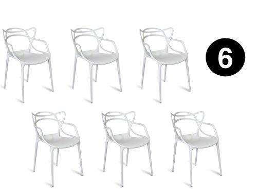IBH DESIGN Set 6Stühle Miami-Weiß-Inspiriert Starck Masters - Outdoor Chaise Lounge-set